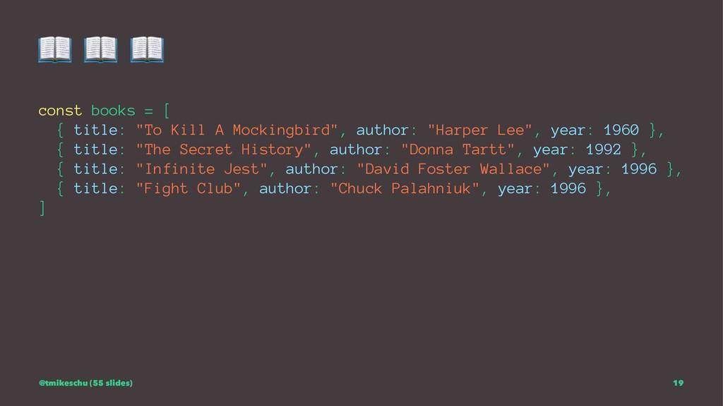 """! ! ! const books = [ { title: """"To Kill A Mocki..."""