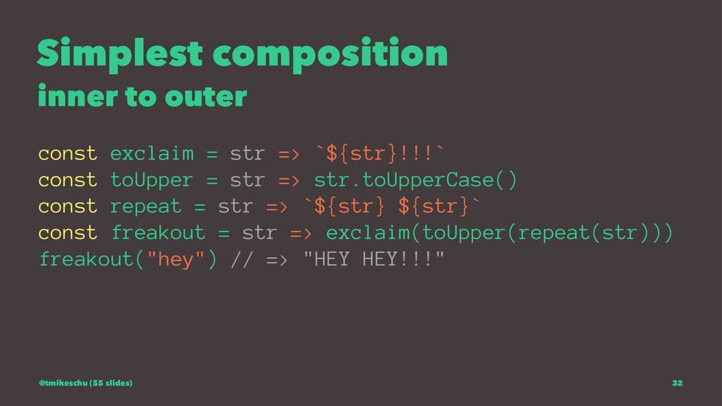 Simplest composition inner to outer const excla...