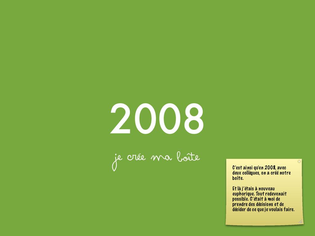 2008 je crée ma boîte C'est ainsi qu'en 2008, a...