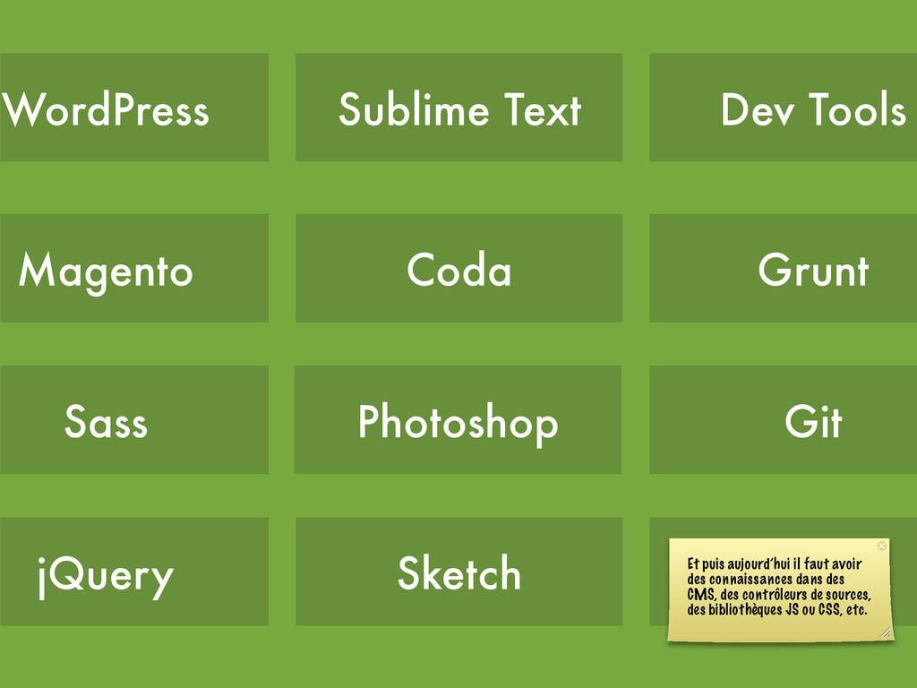 Coda Photoshop Sublime Text Sketch Gulp Git Gru...