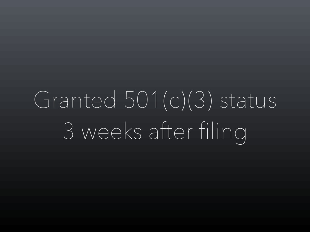 Granted 501(c)(3) status 3 weeks after filing