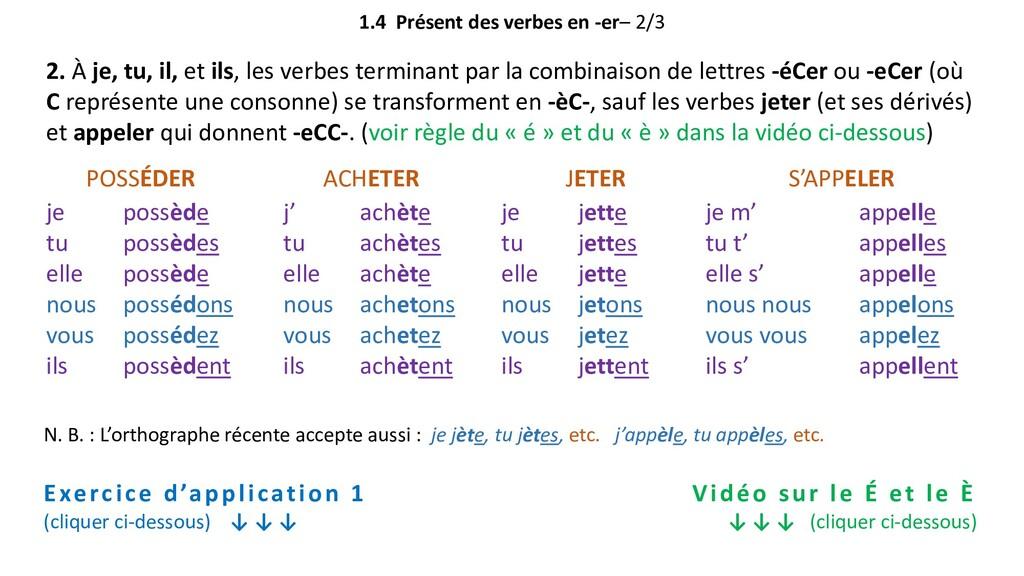 1.4 Présent des verbes en -er– 2/3 Exercice d'a...