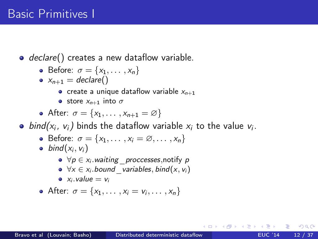 Basic Primitives I declare () creates a new dat...