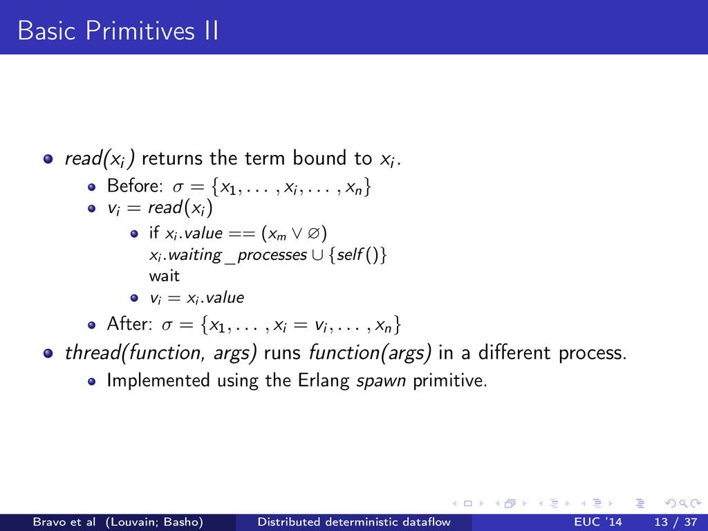 Basic Primitives II read(xi ) returns the term ...