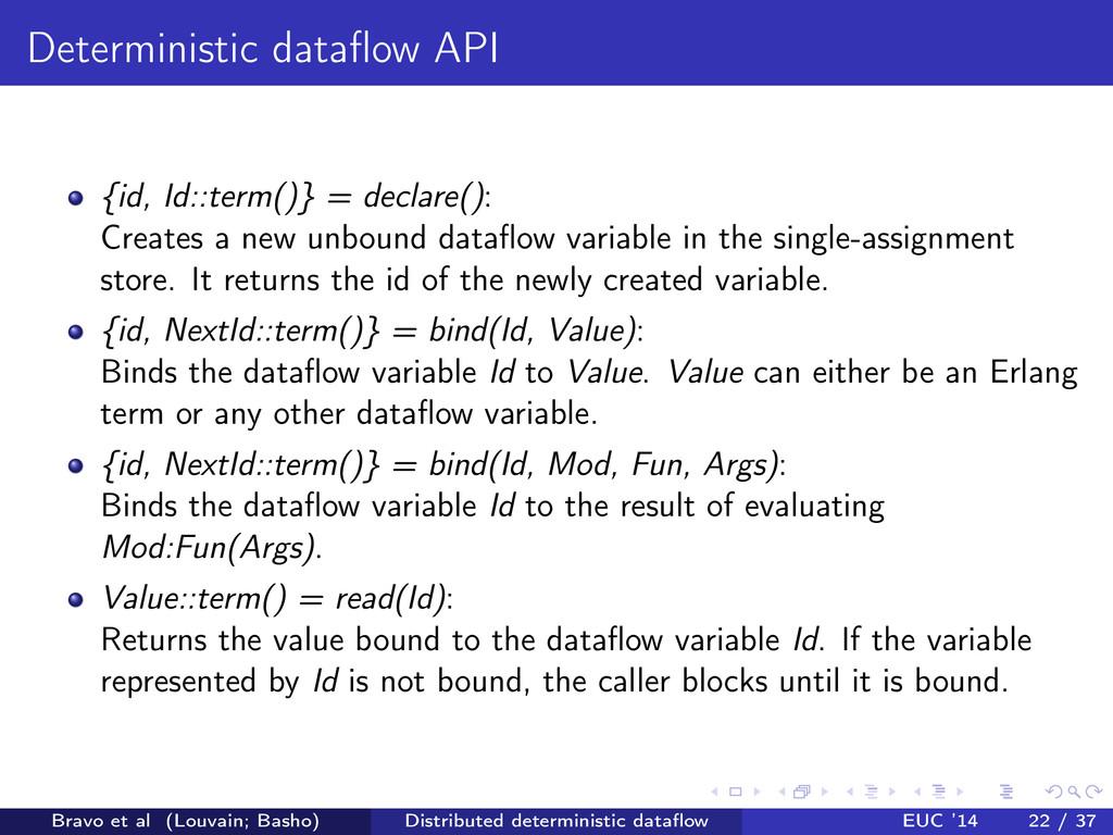 Deterministic dataflow API {id, Id::term()} = de...
