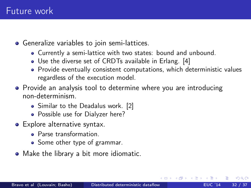 Future work Generalize variables to join semi-l...