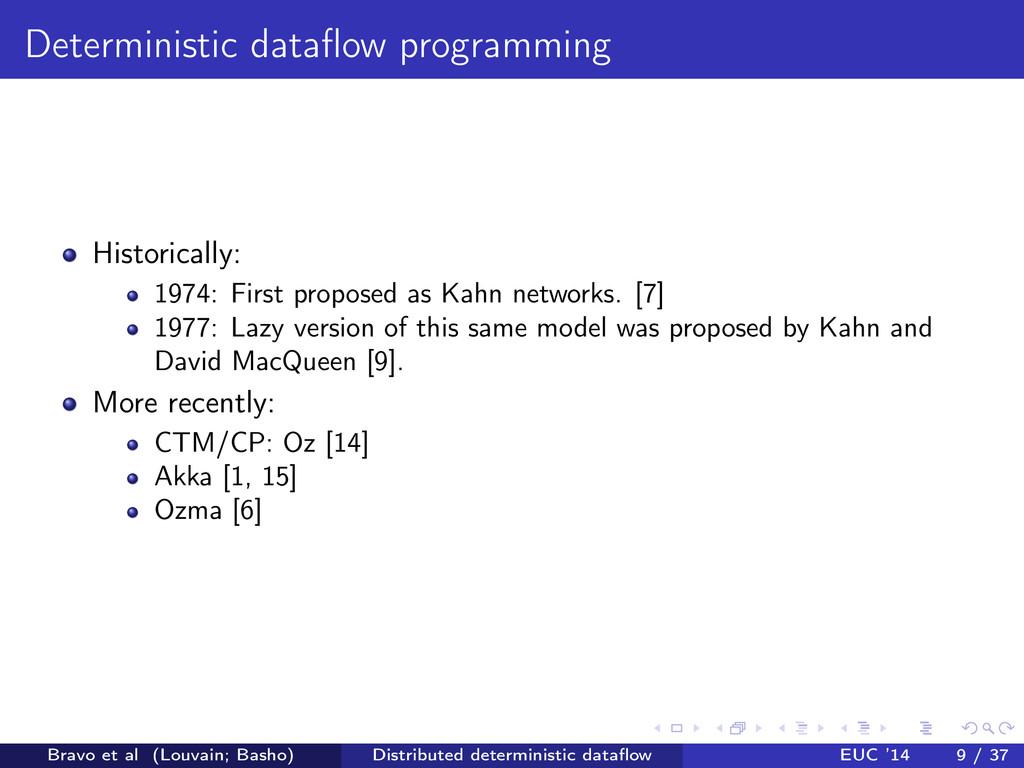 Deterministic dataflow programming Historically:...