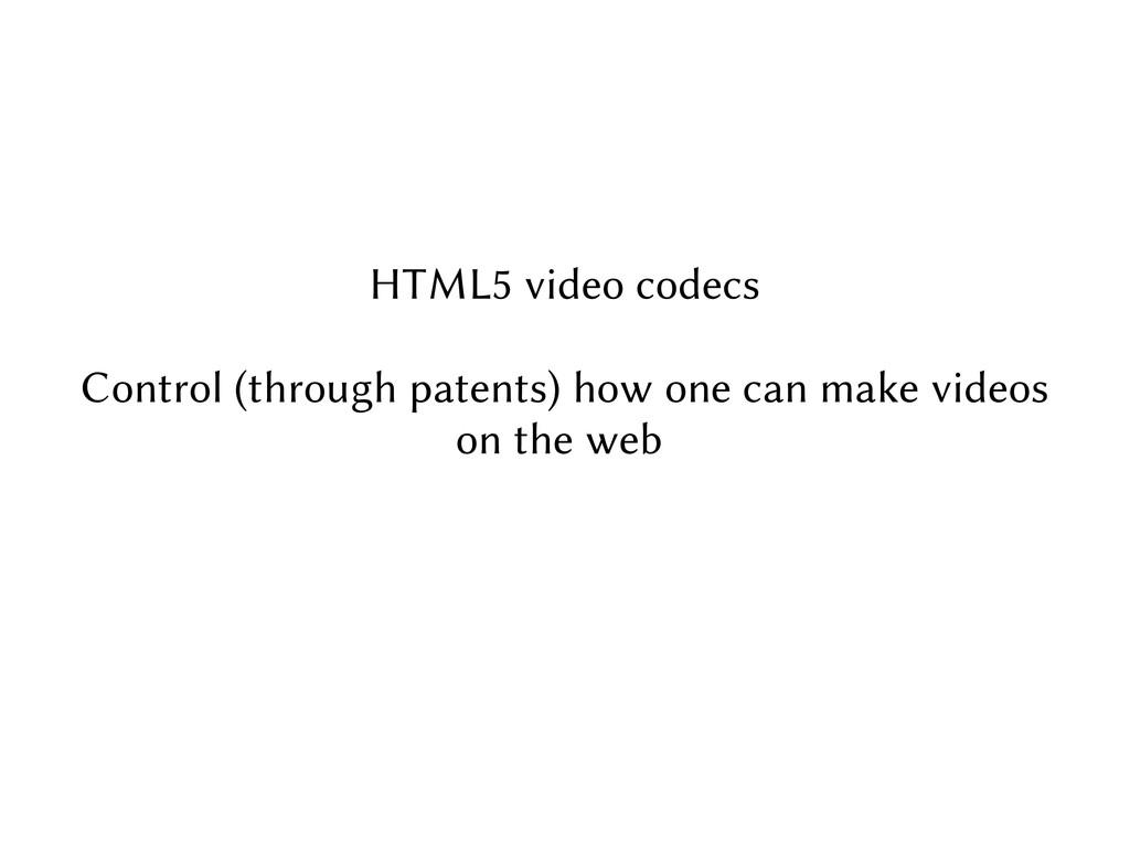 HTML5 video codecs Control (through patents) ho...