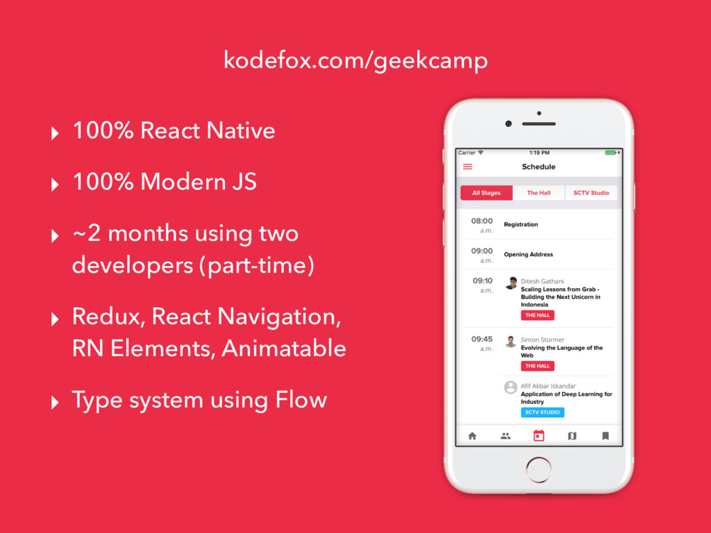 kodefox.com/geekcamp ▸ 100% React Native ▸ 100%...