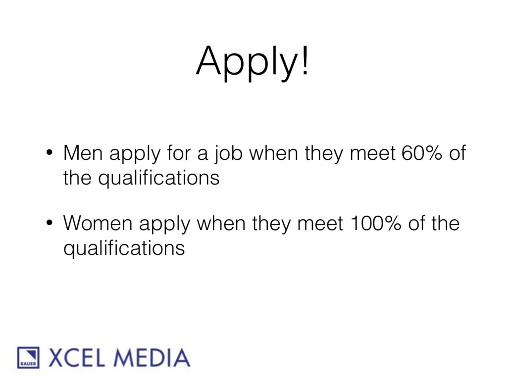Apply! • Men apply for a job when they meet 60%...