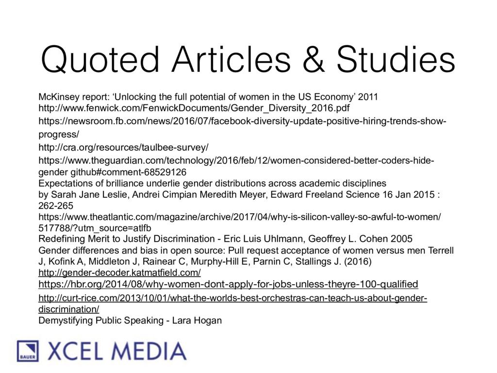 Quoted Articles & Studies McKinsey report: 'Unl...