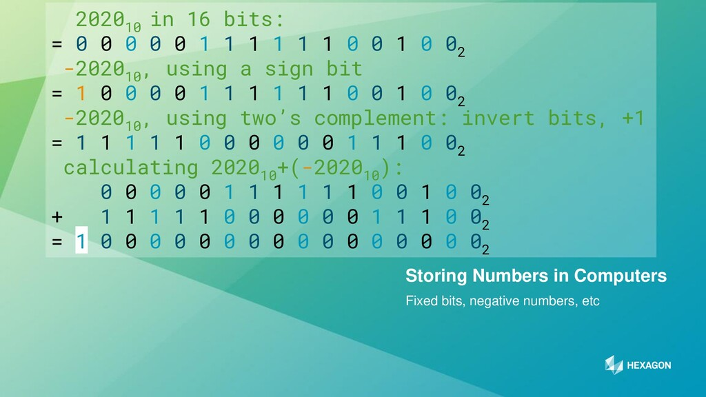 12 Fixed bits, negative numbers, etc Storing Nu...