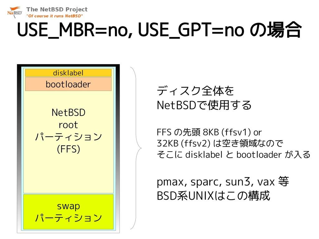 USE_MBR=no, USE_GPT=no の場合 swap パーティション NetBSD ...
