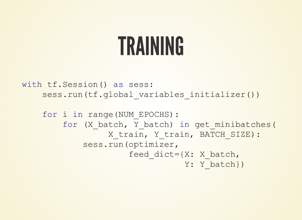 TRAINING with tf.Session() as sess: sess.run(tf...