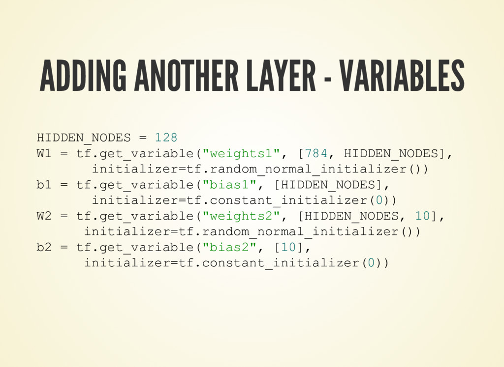ADDING ANOTHER LAYER - VARIABLES HIDDEN_NODES =...