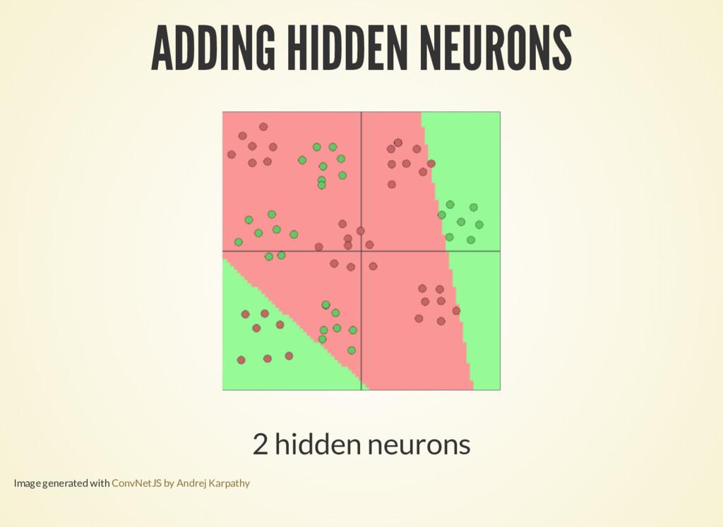 ADDING HIDDEN NEURONS 2 hidden neurons Image ge...