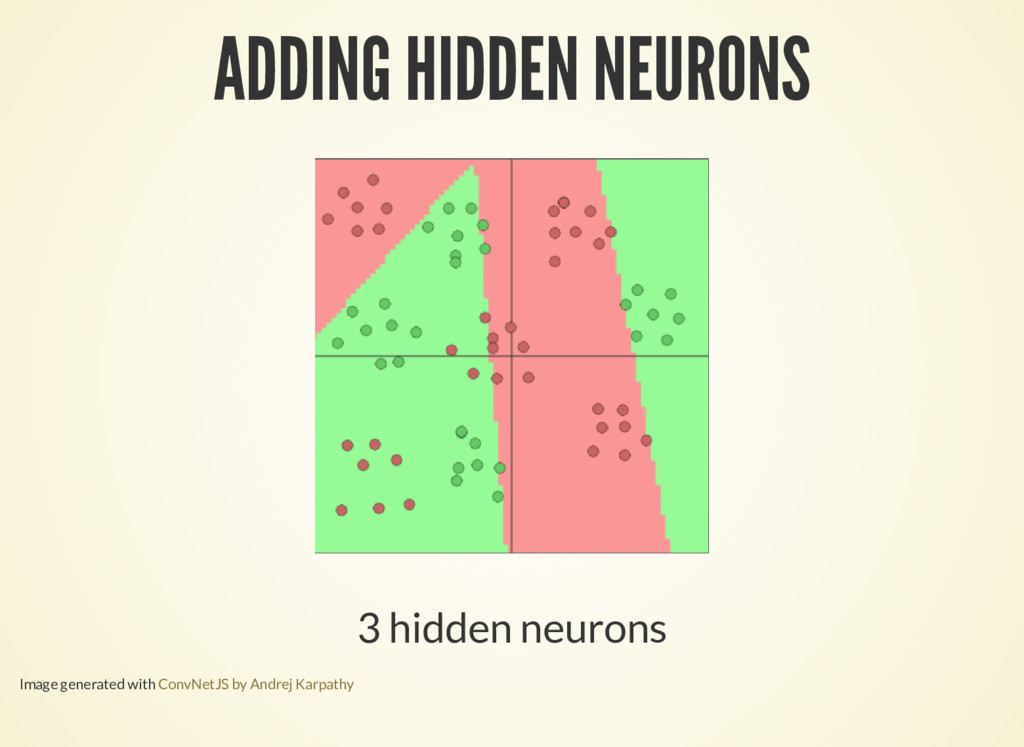 ADDING HIDDEN NEURONS 3 hidden neurons Image ge...