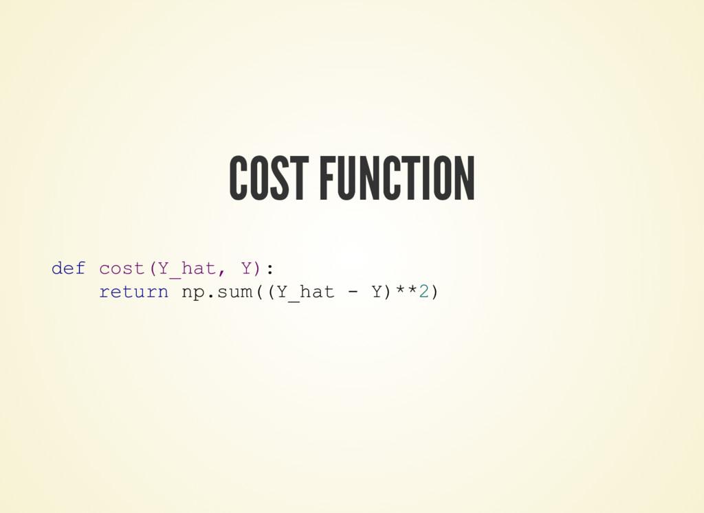 COST FUNCTION def cost(Y_hat, Y): return np.sum...