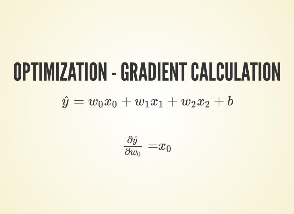 OPTIMIZATION - GRADIENT CALCULATION = + + + b y...