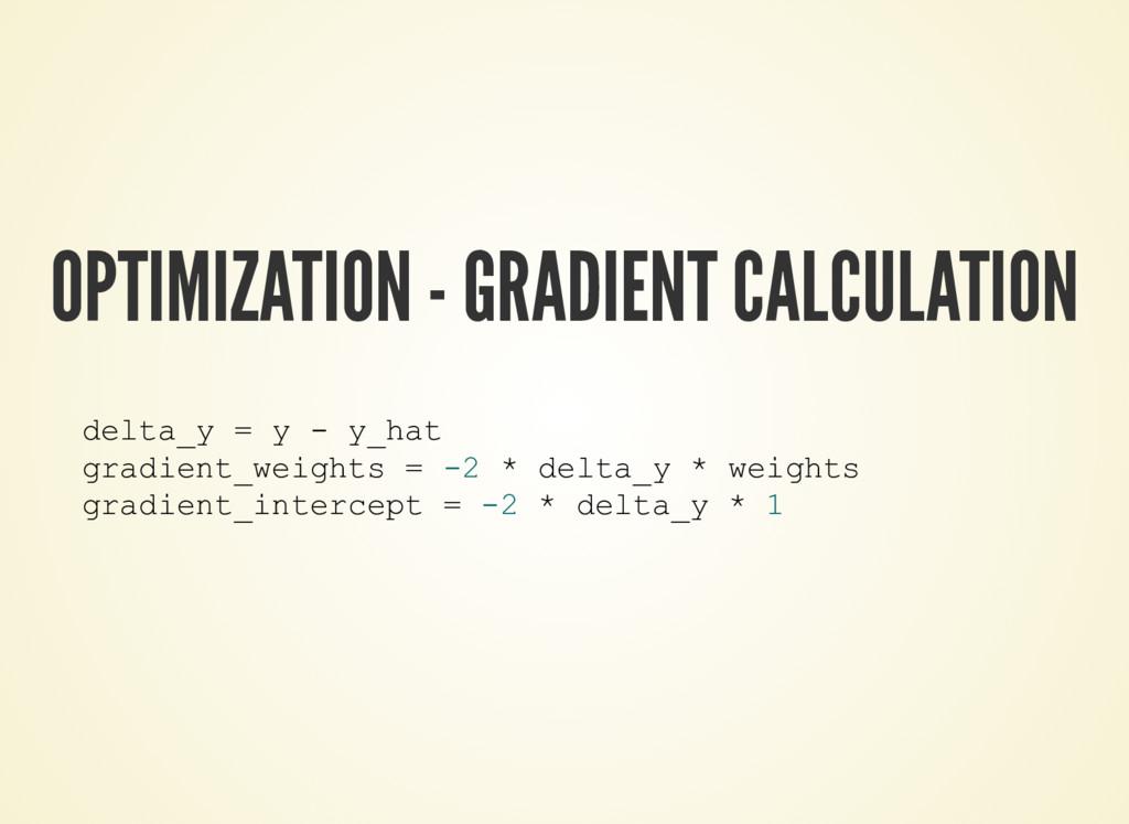 OPTIMIZATION - GRADIENT CALCULATION delta_y = y...