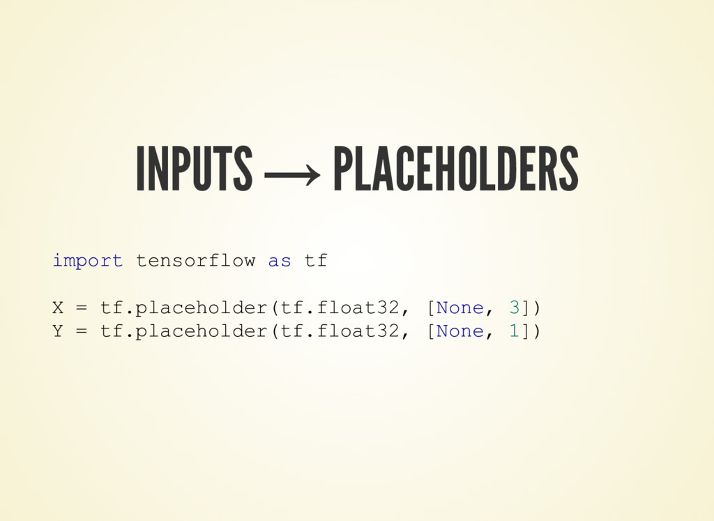 INPUTS → PLACEHOLDERS import tensorflow as tf X...