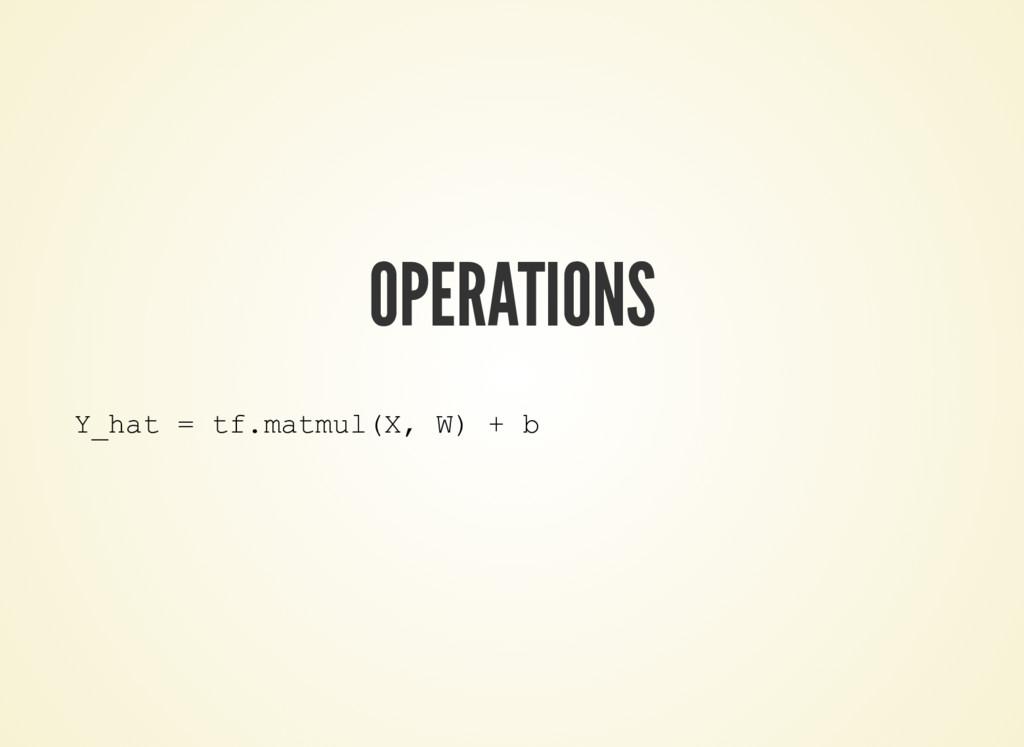 OPERATIONS Y_hat = tf.matmul(X, W) + b