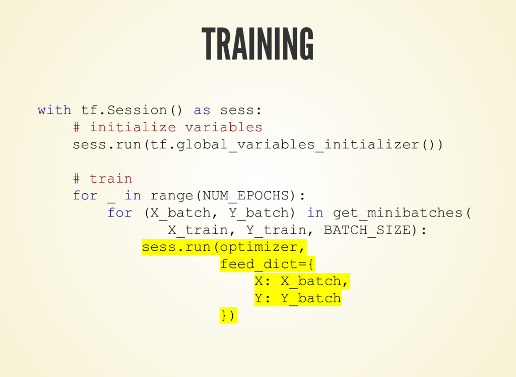 TRAINING with tf.Session() as sess: # initializ...