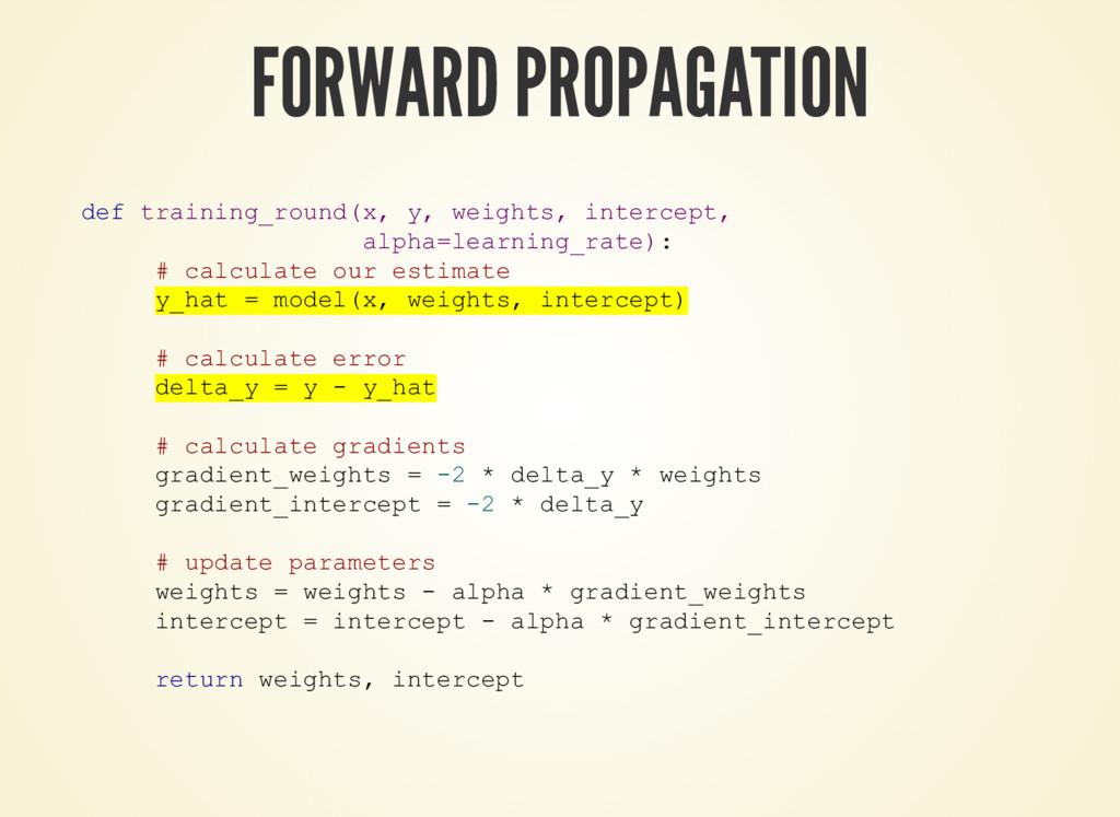 FORWARD PROPAGATION def training_round(x, y, we...