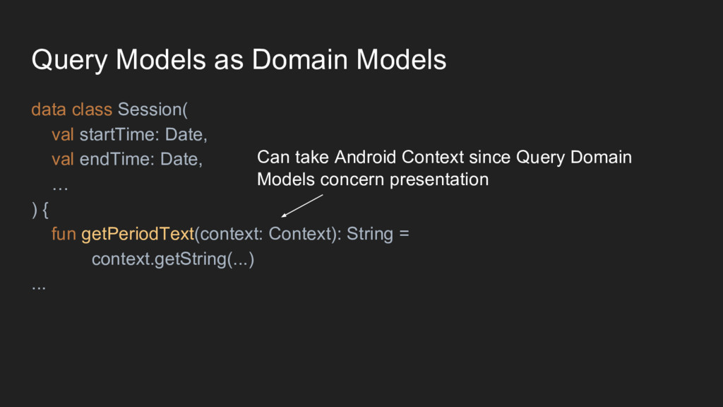Query Models as Domain Models data class Sessio...