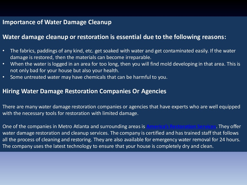 Importance of Water Damage Cleanup Water damage...