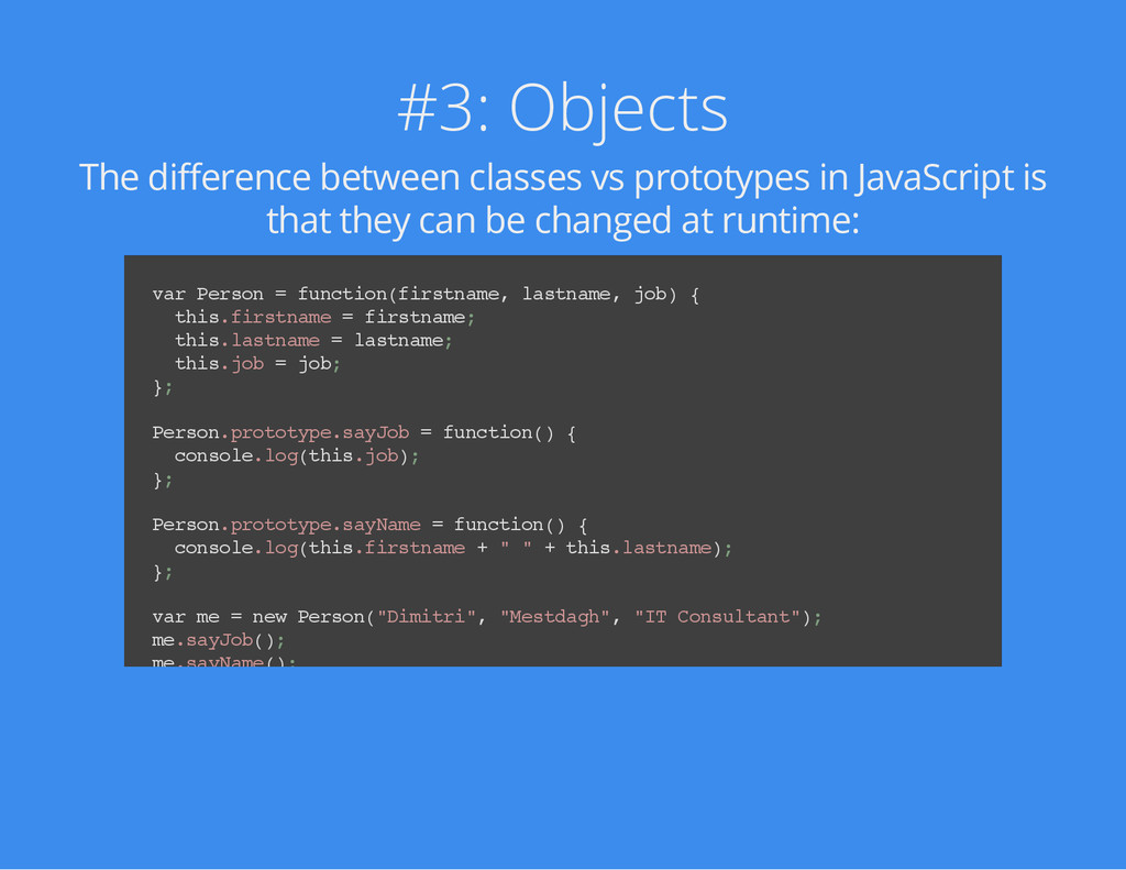 #3: Objects The difference between classes vs p...