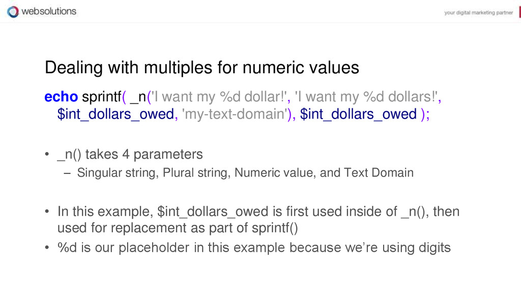 Dealing with multiples for numeric values echo ...