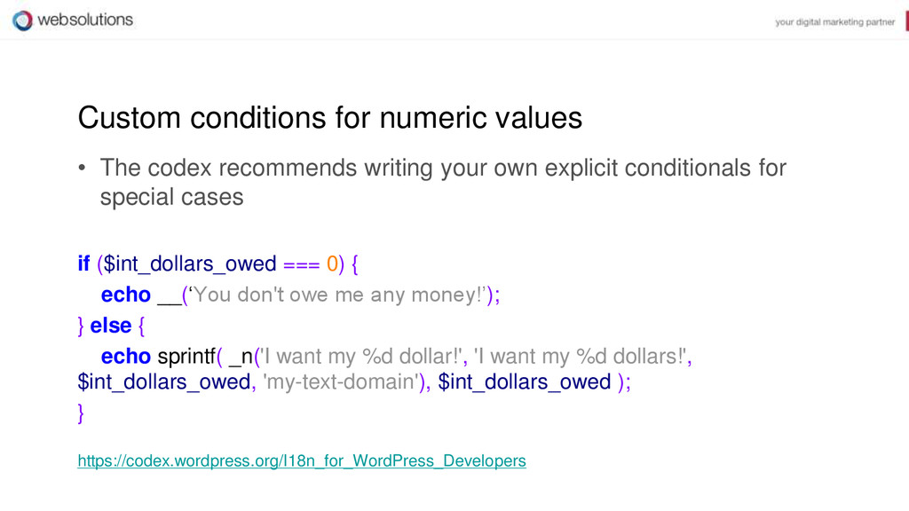 Custom conditions for numeric values • The code...