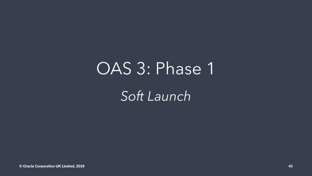 OAS 3: Phase 1 Soft Launch © Oracle Corpora,on ...