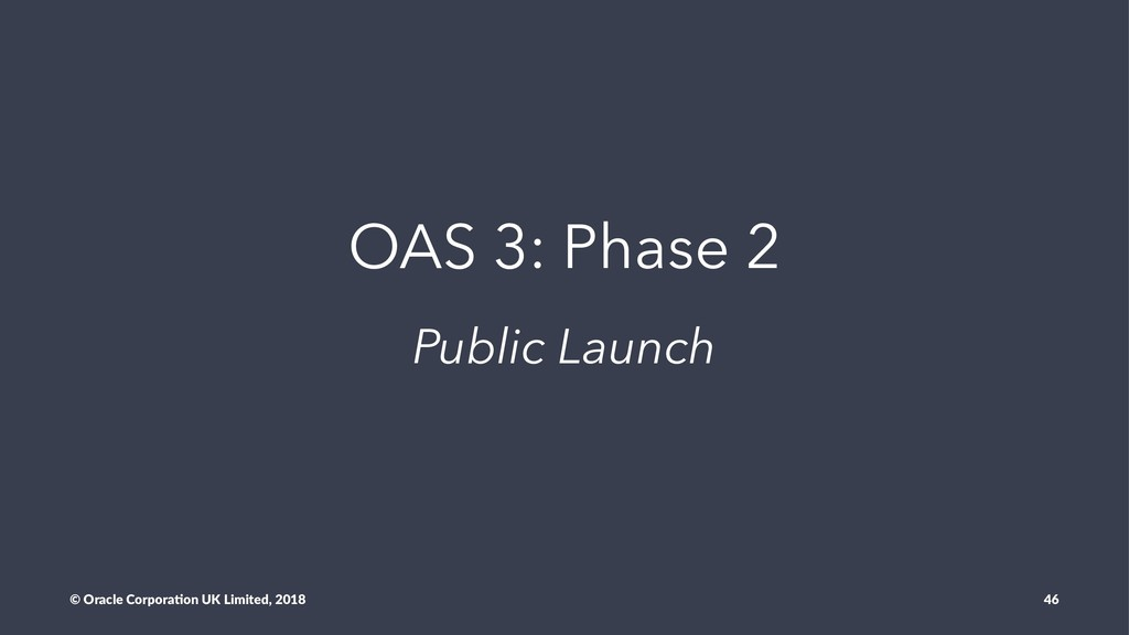 OAS 3: Phase 2 Public Launch © Oracle Corpora,o...