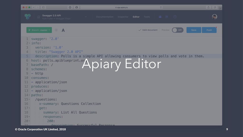 Apiary Editor © Oracle Corpora,on UK Limited, 2...