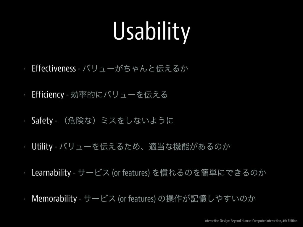 Usability • Effectiveness - όϦϡʔ͕ͪΌΜͱ͑Δ͔ • Eff...