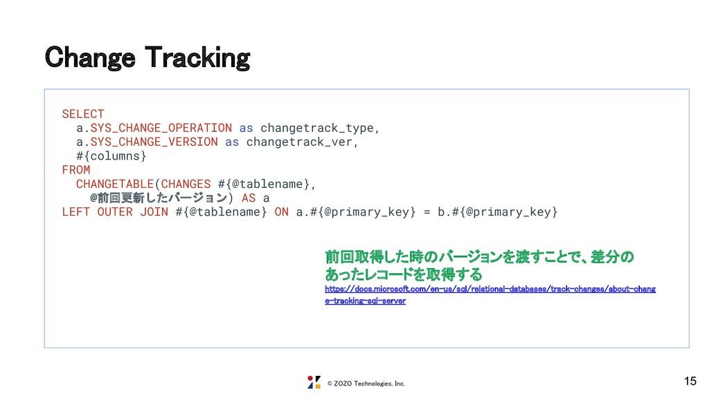 © ZOZO Technologies, Inc. Change Tracking 15 S...