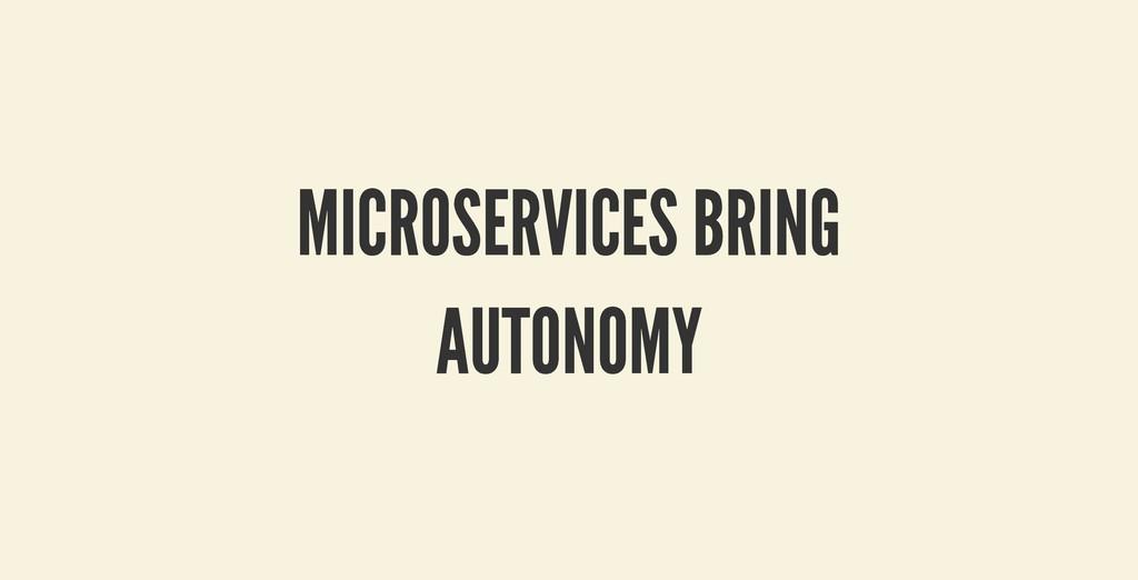 MICROSERVICES BRING MICROSERVICES BRING AUTONOM...