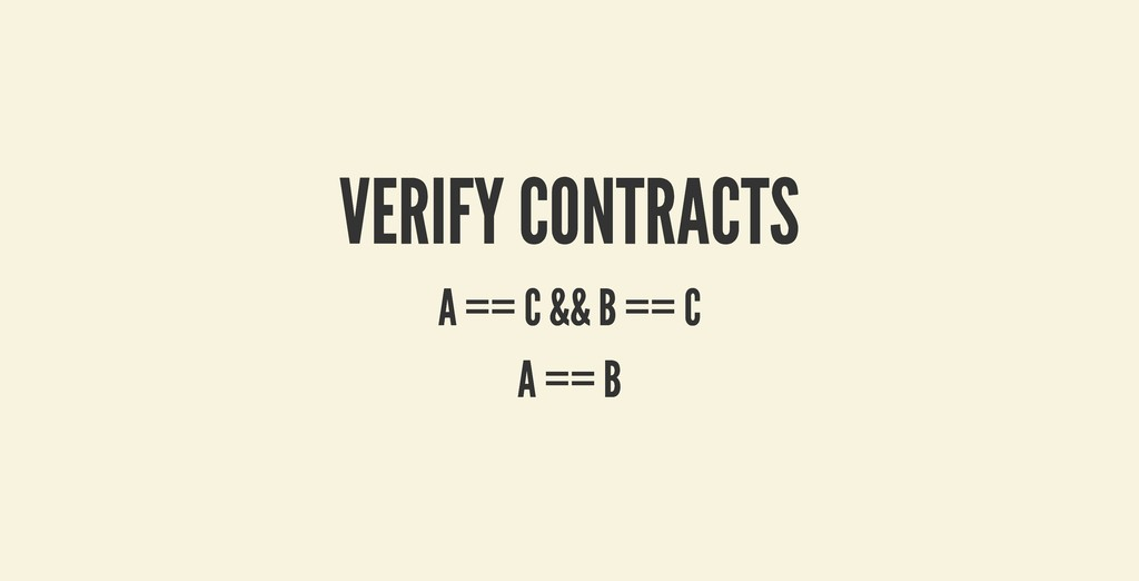 VERIFY CONTRACTS VERIFY CONTRACTS A == C && B =...