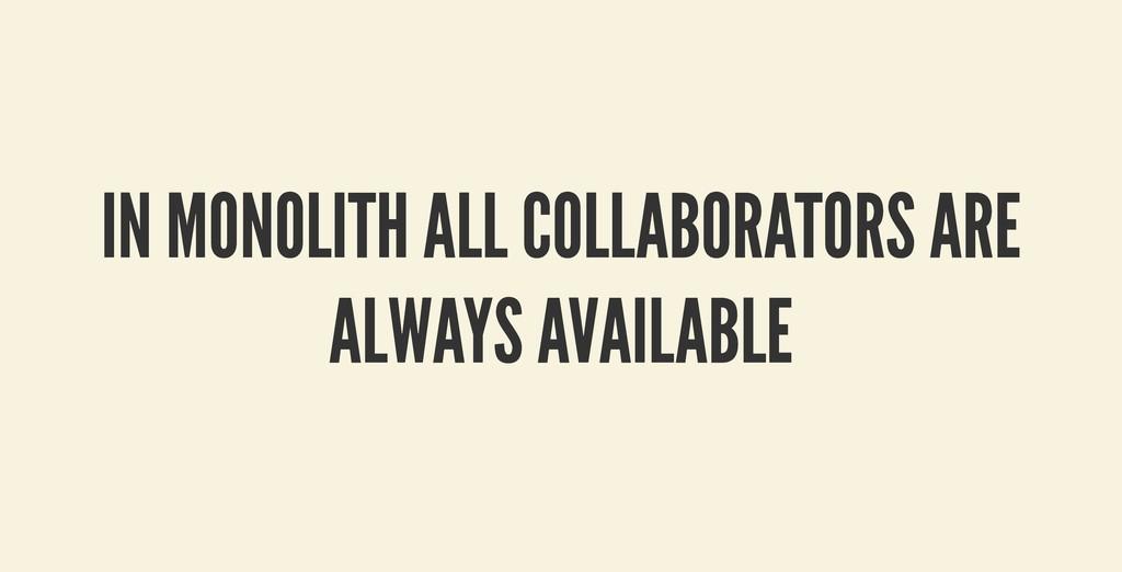 IN MONOLITH ALL COLLABORATORS ARE IN MONOLITH A...