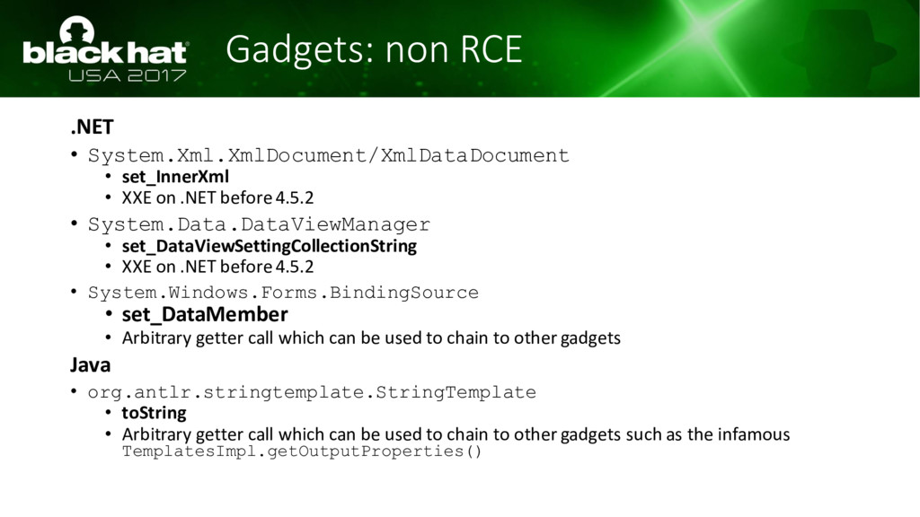 Gadgets: non RCE .NET • System.Xml.XmlDocument/...