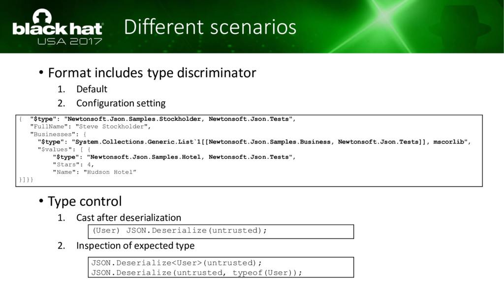 Different scenarios • Format includes type disc...