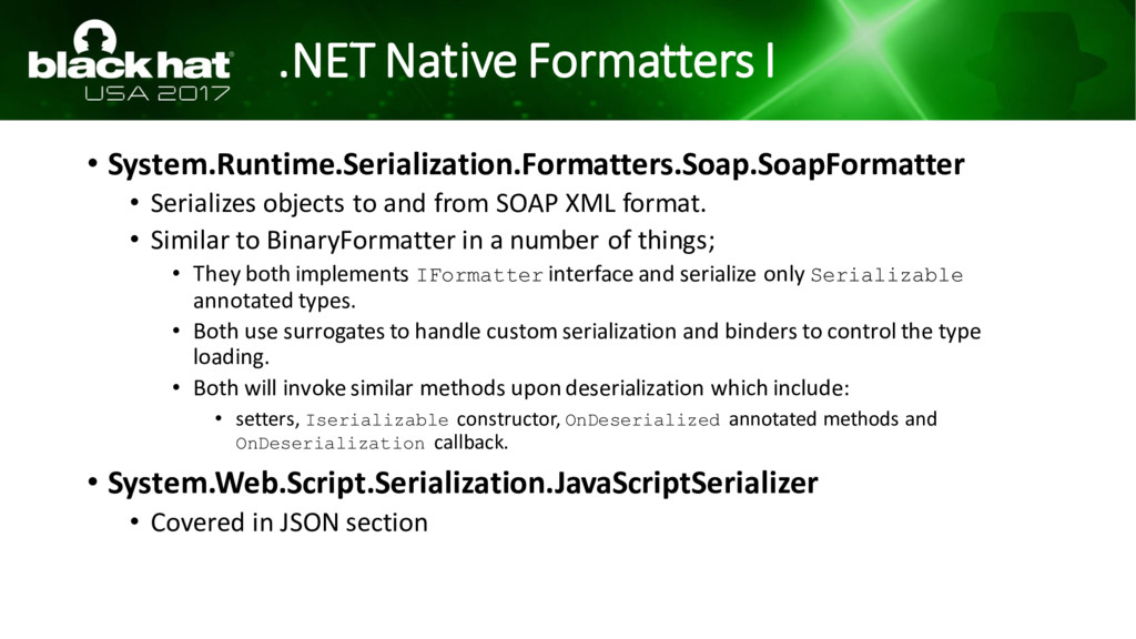 .NET Native Formatters I • System.Runtime.Seria...