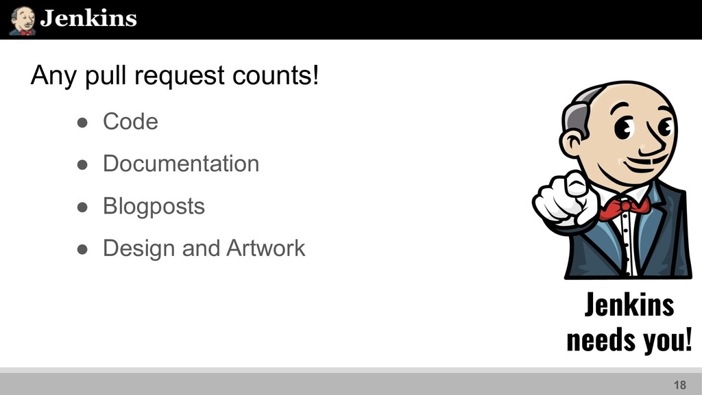 Any pull request counts! 18 ● Code ● Documentat...