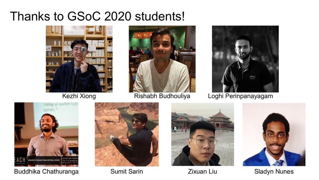 Thanks to GSoC 2020 students! Kezhi Xiong Risha...