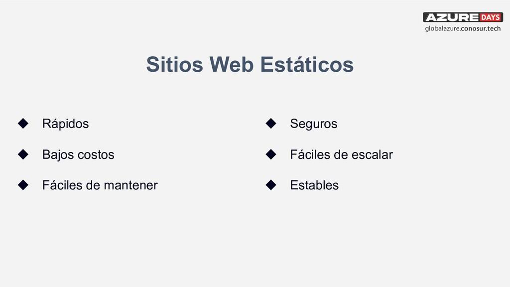 Sitios Web Estáticos ◆ Rápidos ◆ Bajos costos ◆...