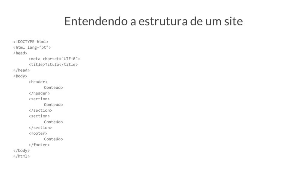 Entendendo a estrutura de um site <!DOCTYPE htm...
