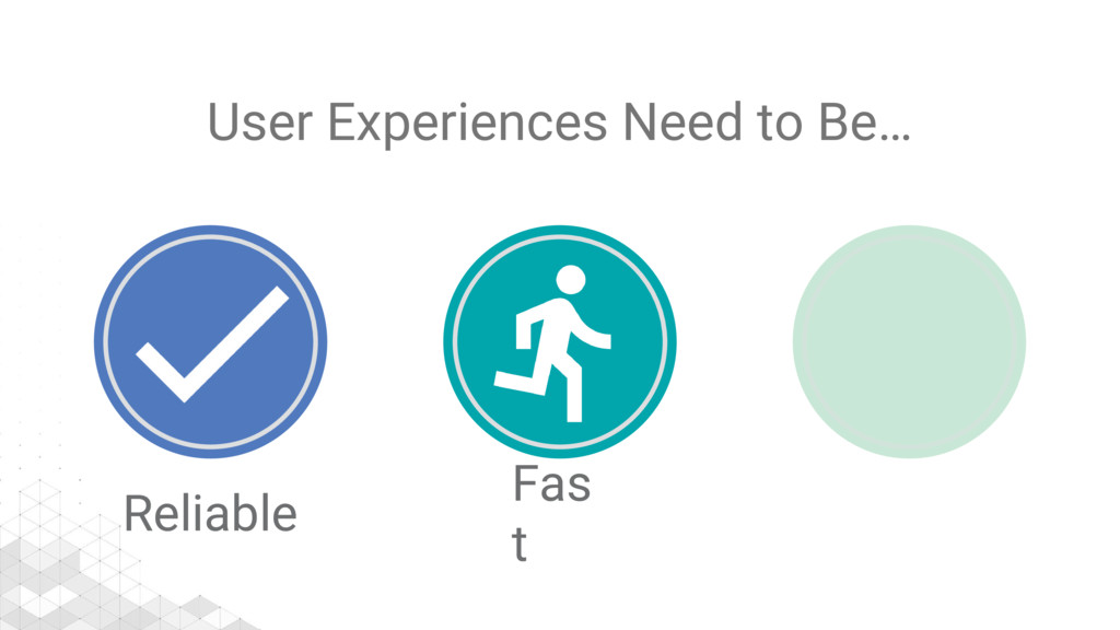 User Experiences Need to Be… Reliable Fas t