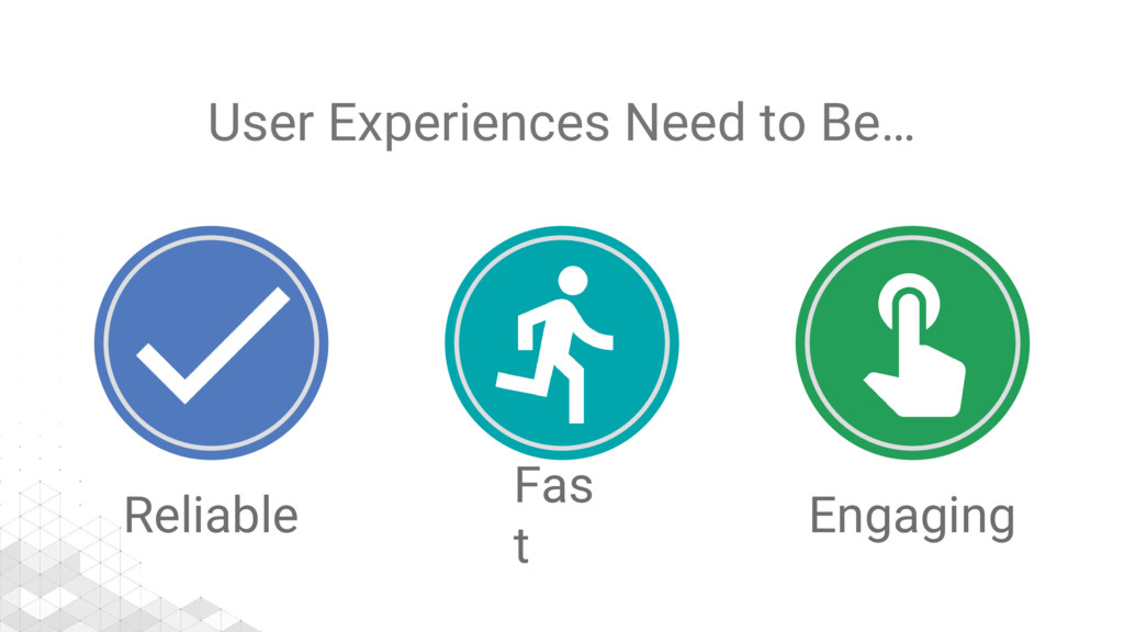 User Experiences Need to Be… Reliable Fas t Eng...